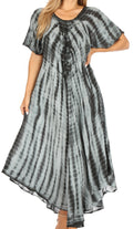 Sakkas Melika Tie Dye Caftan Dress#color_Black / Grey
