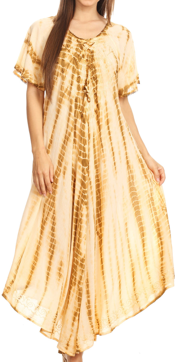 Sakkas Melika Tie Dye Caftan Dress#color_Brown