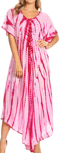 Sakkas Melika Tie Dye Caftan Dress#color_Pink