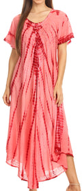 Sakkas Melika Tie Dye Caftan Dress#color_Red