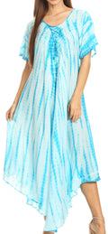 Sakkas Melika Tie Dye Caftan Dress#color_Turquoise