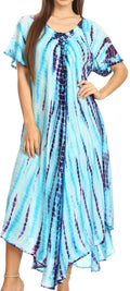 Sakkas Melika Tie Dye Caftan Dress#color_Turquoise / Purple