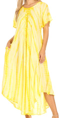 Sakkas Melika Tie Dye Caftan Dress#color_Yellow