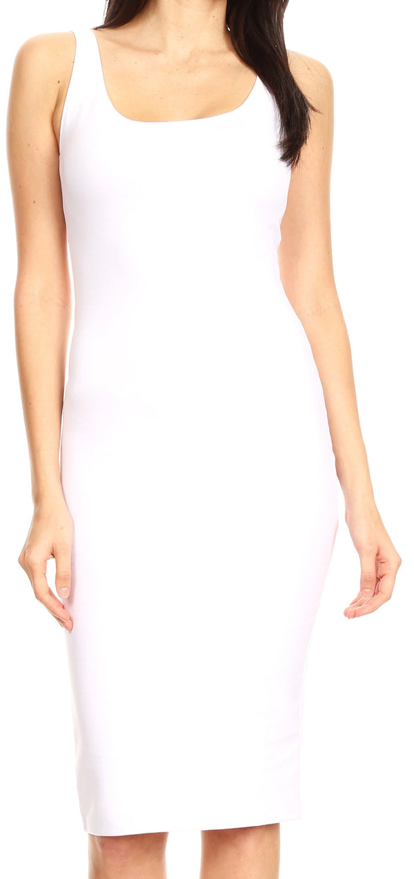 Sakkas Women's Midi Pencil Slim Stretchy  Sleeveless  Solid Dress Made in USA  #color_White