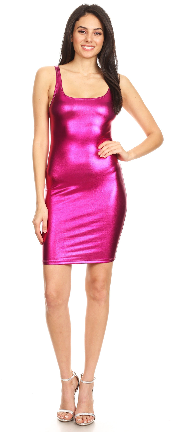 Sakkas Women's Tank Fitted Stretchy Sleeveless Bodycon Party Dress   Made in USA