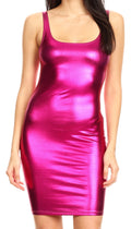 Sakkas Women's Tank Fitted Stretchy Sleeveless Bodycon Party Dress   Made in USA#color_Fuchsia