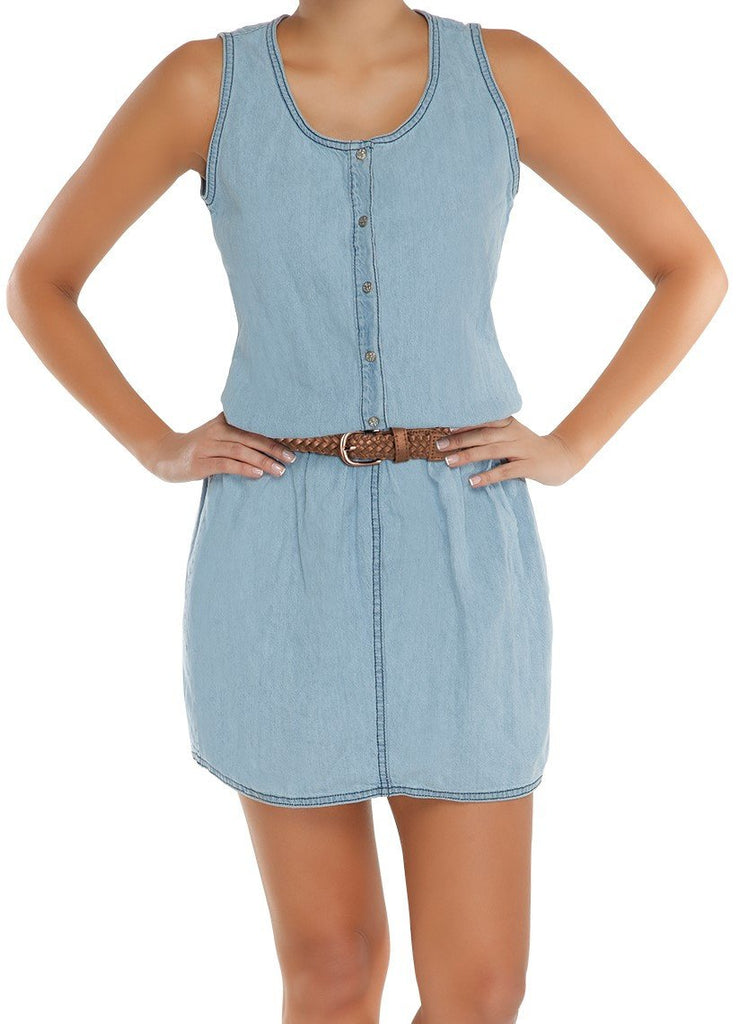 Sakkas Designer Kelsey Denim Sleeveless Dress