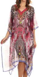 Sakkas Tala Rhinestone Accented Multicolored Sheer Beach Dress / Cover Up