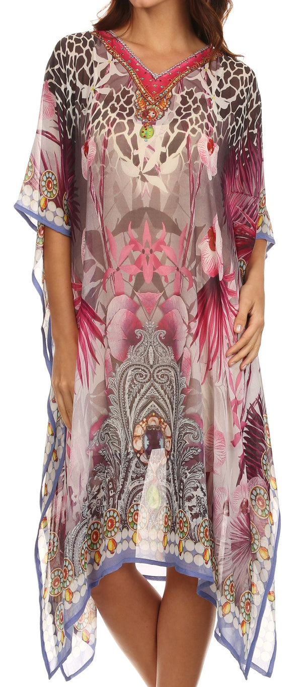 Sakkas Myla Rhinestone Accented Multicolored Sheer Beach Dress / Cover Up