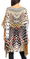 Sakkas Sira Women's Casual Short Sleeve Loose Pullover Mid-Long Oversize Top Tunic#color_CTM240-Multi