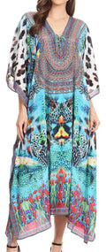 Sakkas Imani  V-neck Silky Lightweight Colorful Flowy Rhinestone Kaftan / Cover Up#color_CTTU135-Turq