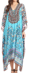 Sakkas Imani  V-neck Silky Lightweight Colorful Flowy Rhinestone Kaftan / Cover Up#color_FOTU137-Turq