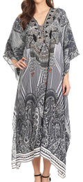 Sakkas Imani  V-neck Silky Lightweight Colorful Flowy Rhinestone Kaftan / Cover Up#color_JBK132-Black