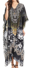 Sakkas Imani  V-neck Silky Lightweight Colorful Flowy Rhinestone Kaftan / Cover Up#color_JBK133-Black