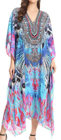 Sakkas Imani  V-neck Silky Lightweight Colorful Flowy Rhinestone Kaftan / Cover Up#color_ONB136-Blue