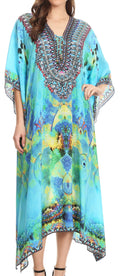 Sakkas Imani  V-neck Silky Lightweight Colorful Flowy Rhinestone Kaftan / Cover Up#color_ONTU138-Turq