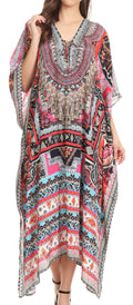 Sakkas Imani  V-neck Silky Lightweight Colorful Flowy Rhinestone Kaftan / Cover Up#color_ORM139-Multi