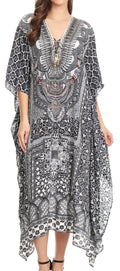 Sakkas Imani  V-neck Silky Lightweight Colorful Flowy Rhinestone Kaftan / Cover Up#color_TBK134-Black