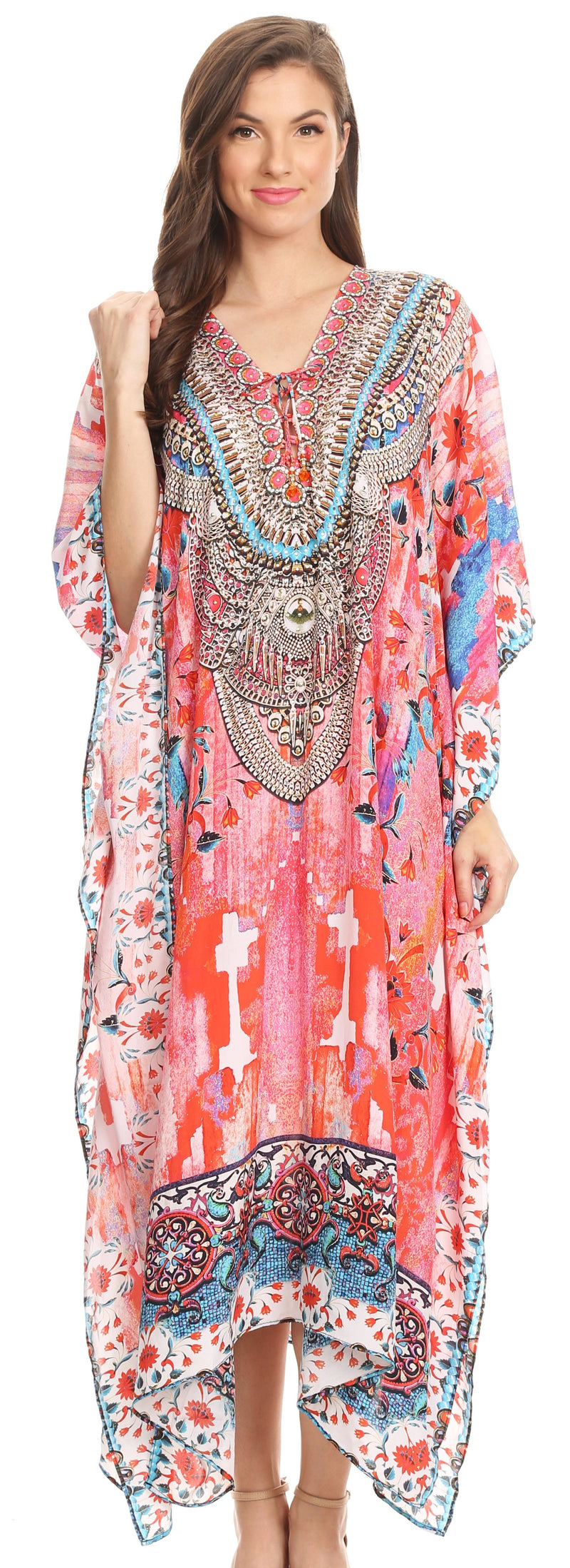 Sakkas Imani  V-neck Silky Lightweight Colorful Flowy Rhinestone Kaftan / Cover Up