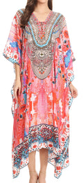 Sakkas Imani  V-neck Silky Lightweight Colorful Flowy Rhinestone Kaftan / Cover Up#color_WM140-Multi
