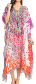Sakkas Imani  V-neck Silky Lightweight Colorful Flowy Rhinestone Kaftan / Cover Up#color_WM141-Multi