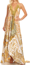 Sakkas Lizi Womens Maxi High-low Halter Handkerchief Long Dress Beach Party#color_LW200-White