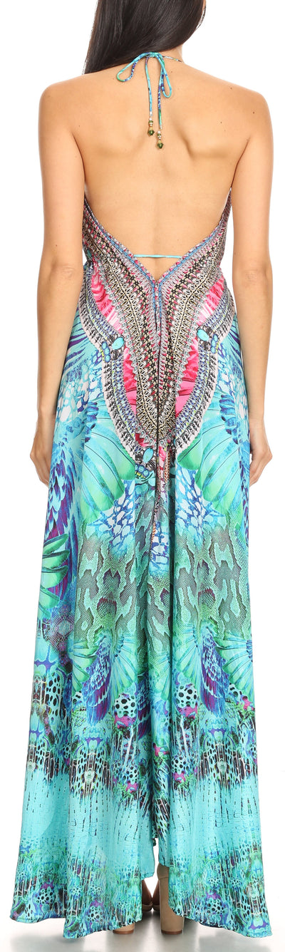 group-ETU227-Turq (Sakkas Marina Womens Maxi High-low Halter Handkerchief Long Dress Beach Party)