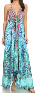 Sakkas Lizi Womens Maxi High-low Halter Handkerchief Long Dress Beach Party#color_ETU227-Turq