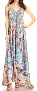 Sakkas Lizi Womens Maxi High-low Halter Handkerchief Long Dress Beach Party#color_FM268-Multi