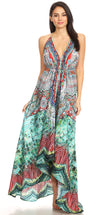 group-FOM223-Multi (Sakkas Marina Womens Maxi High-low Halter Handkerchief Long Dress Beach Party)