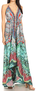 Sakkas Lizi Womens Maxi High-low Halter Handkerchief Long Dress Beach Party#color_FOM223-Multi