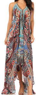 Sakkas Lizi Womens Maxi High-low Halter Handkerchief Long Dress Beach Party#color_FOM313-Multi