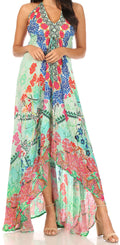Sakkas Lizi Womens Maxi High-low Halter Handkerchief Long Dress Beach Party#color_FOM319-Multi