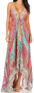 Sakkas Lizi Womens Maxi High-low Halter Handkerchief Long Dress Beach Party#color_FOM321-Multi
