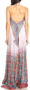 group-FOW210-White (Sakkas Marina Womens Maxi High-low Halter Handkerchief Long Dress Beach Party)