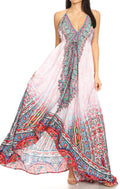 Sakkas Lizi Womens Maxi High-low Halter Handkerchief Long Dress Beach Party#color_FOW210-White