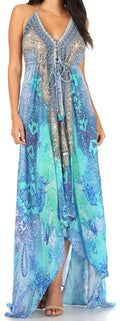 Sakkas Lizi Womens Maxi High-low Halter Handkerchief Long Dress Beach Party#color_JTU308-Turq