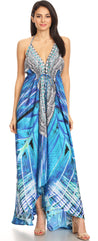 group-LVB235-Blue (Sakkas Marina Womens Maxi High-low Halter Handkerchief Long Dress Beach Party)