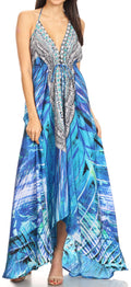 Sakkas Lizi Womens Maxi High-low Halter Handkerchief Long Dress Beach Party#color_LVB235-Blue