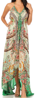 Sakkas Lizi Womens Maxi High-low Halter Handkerchief Long Dress Beach Party#color_MM307-Multi
