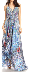 Sakkas Lizi Womens Maxi High-low Halter Handkerchief Long Dress Beach Party#color_ORB278-Blue