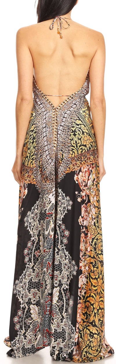 group-ORBK233-Black (Sakkas Marina Womens Maxi High-low Halter Handkerchief Long Dress Beach Party)