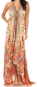 Sakkas Lizi Womens Maxi High-low Halter Handkerchief Long Dress Beach Party#color_ORM322-Multi