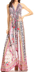 Sakkas Lizi Womens Maxi High-low Halter Handkerchief Long Dress Beach Party#color_ORPI264-Pink