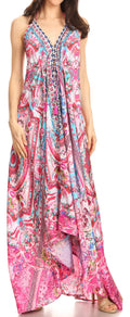 Sakkas Lizi Womens Maxi High-low Halter Handkerchief Long Dress Beach Party#color_ORPI272-Pink