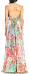 group-ORTU230-Turq (Sakkas Marina Womens Maxi High-low Halter Handkerchief Long Dress Beach Party)