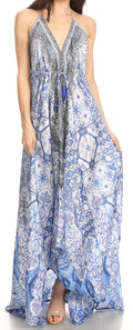 Sakkas Lizi Womens Maxi High-low Halter Handkerchief Long Dress Beach Party#color_TB269-Blue