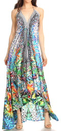 Sakkas Lizi Womens Maxi High-low Halter Handkerchief Long Dress Beach Party#color_TLM280-Multi