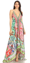 group-TM208-Multi (Sakkas Marina Womens Maxi High-low Halter Handkerchief Long Dress Beach Party)