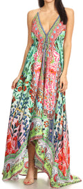 Sakkas Lizi Womens Maxi High-low Halter Handkerchief Long Dress Beach Party#color_TM208-Multi